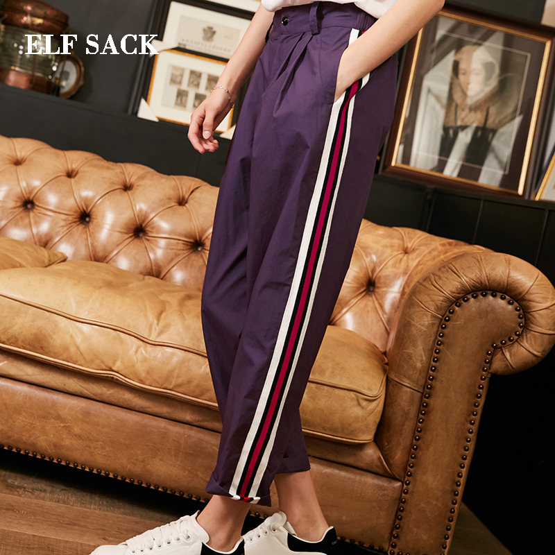 ELF SACK Autumn New Woman Pants Cotton Full Length Casual Chiffon Women Pants Striped Mid Wide Leg Pants Femme Pants Bottom