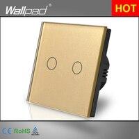 Home Automation Wallpad EU UK Standard 110 220V LED Gold 2 Gang 1 Way Touch Sensor