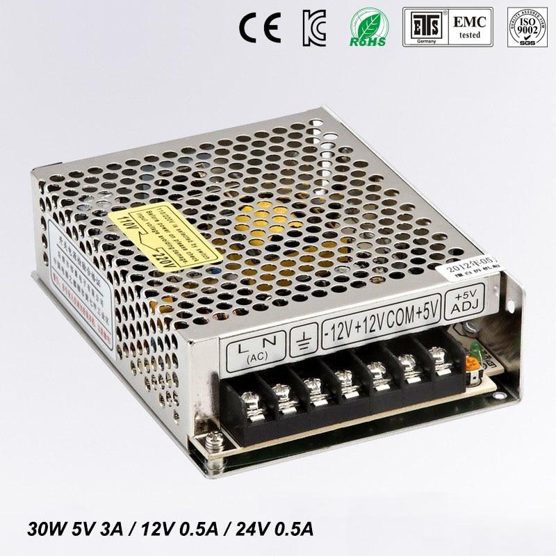все цены на 30W Triple output switching power supply 5V 12V 24V 3A 0.5A 0.5A power suply T-30D High quality ac dc converter онлайн