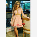 Charming Peach Short Long Sleeve Prom Dress Sexy See Through Homecoming Cocktail Graduation Party Prom Dresses New Hot