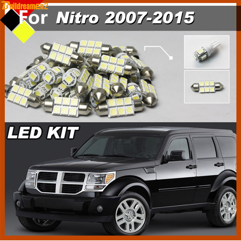 Buildreamen2 Truck Car White LED Interior Kit Package Bulbs 12V For Dodge Nitro 2007-2015 Courtesy License Plate Map Dome Bulbs