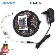 IKVVT 5m 10m 5050 LED Strip Light 12V Waterproof RGB tape Rope Neon Kit + Bluetooth Controller +Power supply