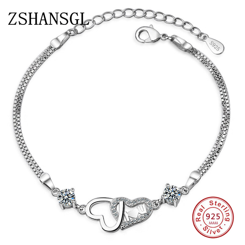 2018 Fashion White/Purple CZ Crystal Love Heart Forever 925 Sterling Silver Bracelet for Women Jewelry Chain Charm Bracelets