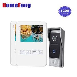 Homefong видео телефон двери 2 монитора проводной белый Интерком 1200TVL интеркомы для частного дома запись фото видео разблокировка