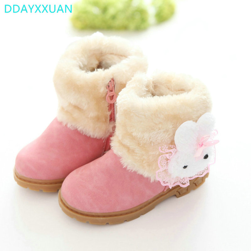 Girls Boots Princess 2017 Brand New Winter Children Shoes Plush Warm Bow Fashion Girl Snow Boots Kids Soft Bow Cute Girls Shoes in Boots from Mother Kids