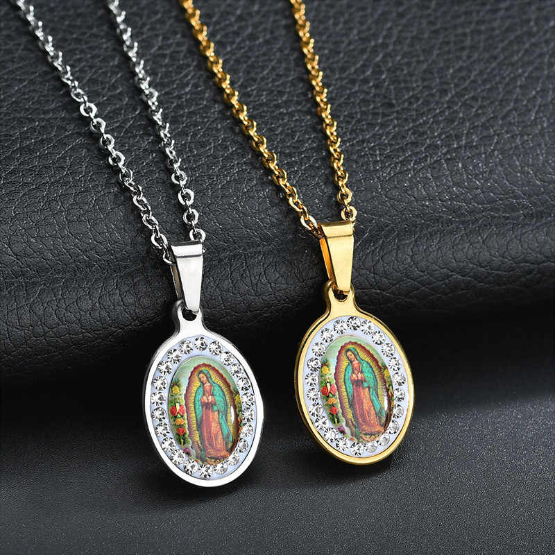 Spark Religious Virgin Mary Pendant Necklace Stainless Steel Christian Jewelry CZ Stone Prayer Necklaces For Women Collier Femme
