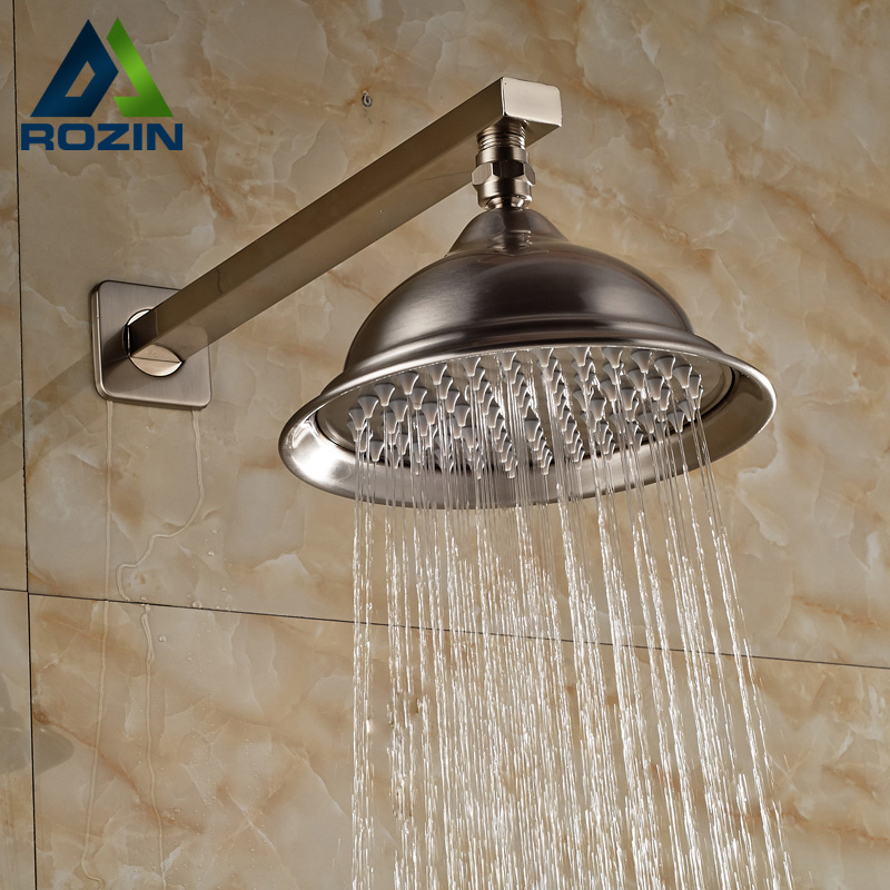 Brushed Nickel Wall Mount 8 inch Rainfall Shower Head Stainless Steel Bathroom Top Showerhead with Arm 16 inch bathroom rainfall shower head stainless steel 304 brushed nickel with brass arm exclusive air drop technology bd018a