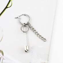 ФОТО 1pcs 2018 new stainless steel safety pin geometry chain bts earrings irregular drop earrings for fashion women and men jewelry