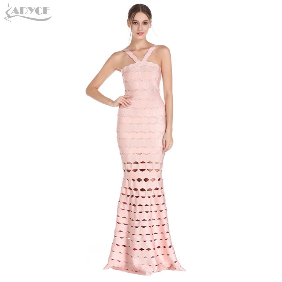 Adyce 2018 HOT SALE Sexy Halter Neck Long Bandage Dress Vestidos Night Out Hollow Out Celebrity Party Dresses Women Maxi Dress