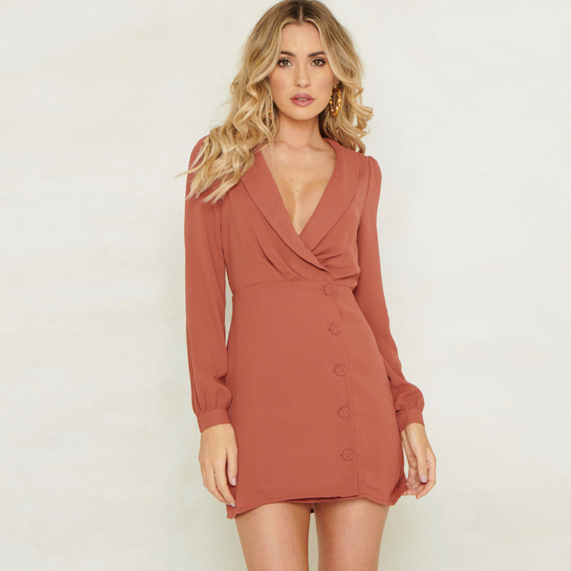 078583fdede Vintage Single Breasted Women Dress Long Sleeve Blazer Bodycon Mini Dresses  Buttons Party Dress Elegant Office