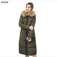 Winter jacket women winter new fashion camperas mujer abrigo invierno 2018 long fashion large fur collar hooded down jacket
