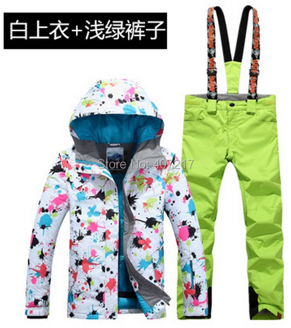 2017 New arrival font b womens b font ski suit female skiing snowboarding suit flower printing