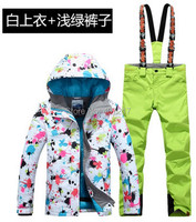 2017 New Arrival Womens Ski Suit Female Skiing Snowboarding Suit Flower Printing Ski Jacket And Yellow