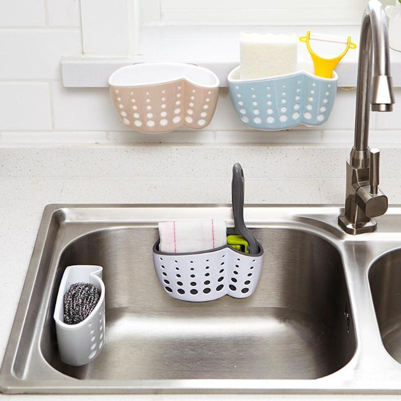 Suction Hanging Sink Shelf Soap Sponge Basket Storage Organizer Drain Basket Box Bath Storage Tools Sink Holder Kitchen Accessor