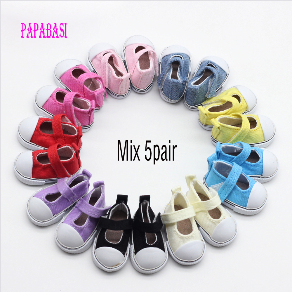 5pair Mix Assorted 5cm Canvas Shoes For BJD Doll Fashion Mini Toy Shoes Sneaker