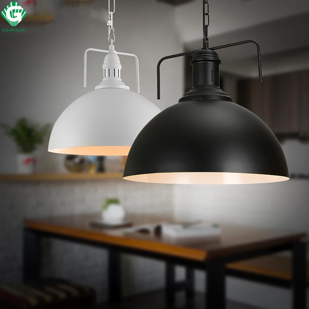 GO OCEAN Pendant Light E27 Art Deco White Black Dining Room Modern Pendant Lamps Iron Painted Pendant lights Lighting e go короткое платье