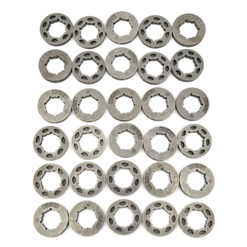 Chainsaw Sprocket Rim Big 3/8-7T teeth for Stihl MS361 381 660 Husqvarna 51 55 268 282 365 Clutch Drum Replaces Parts 30PCS chainsaw clutch drum rim sprocket 3 8 7t needle bearing kit for husqvarna 61 66 162 266 268 272 jonsered 625 630