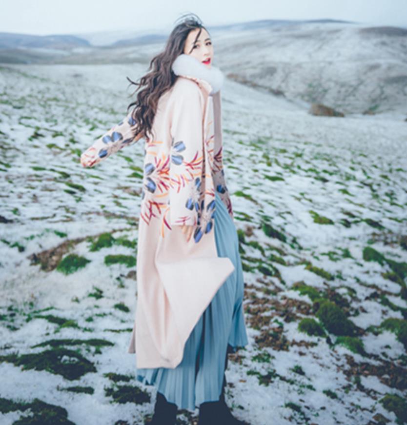 2018 Élégant Hiver Laine Manches Beige White Longue Livraison Femme Style Imprimer Gx1650 Longues Manteaux Vintage Mode Tops Survêtement Ceintures De Nouvelle Marque 66wdrqF
