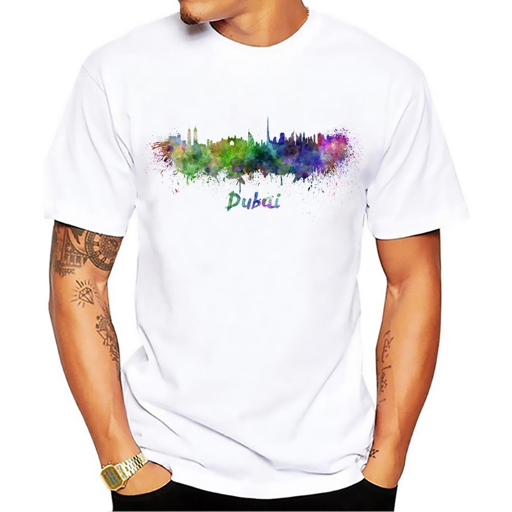 Arab Emirates Dubai Abu Dhabi Watercolor City Landmark Skyline Tshirt Men New White Short Sleeve Casual Homme Cool T Shirt