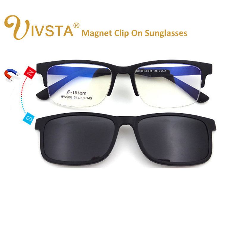 f727558b3f5 IVSTA High Quality ULTEM Clip On Sunglasses Men Polarized Lenses Magnetic  Clips Magnet Eyewear Myopia Spectacle