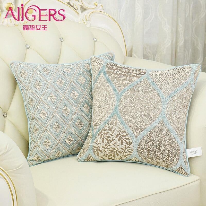 Avigers European Cushion Cover Luxury Velvet Blue Jacquard Pillowcase Emoji Smile Christmas Home Decorative Sofa Throw Pillow