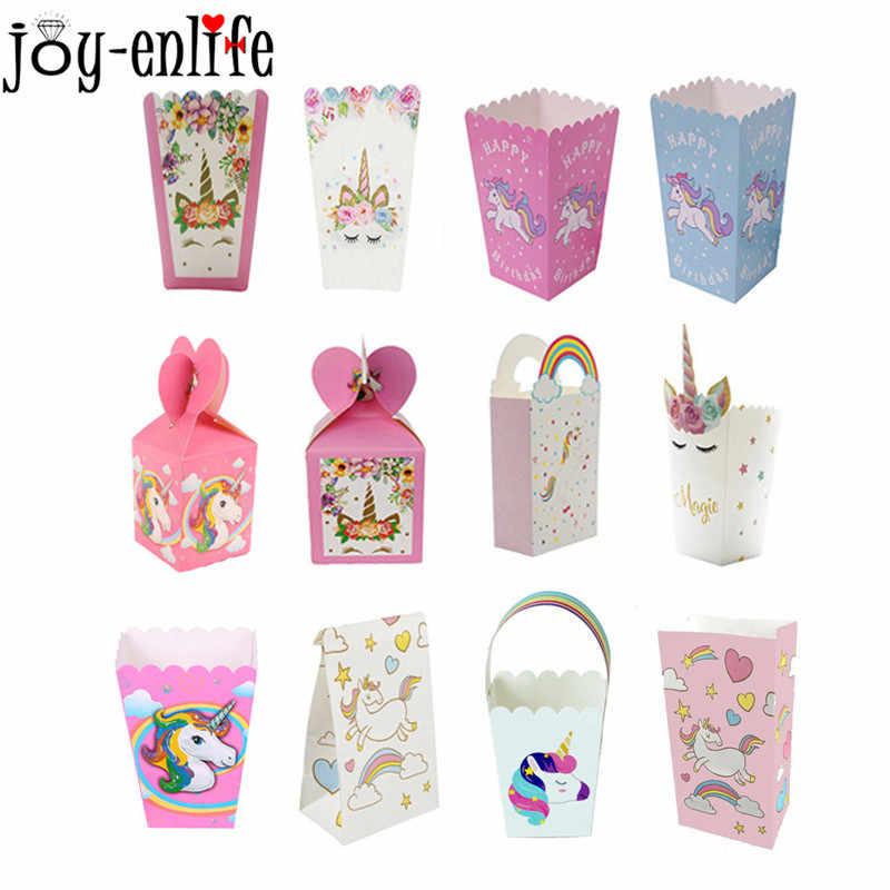 6c9d8679d Decoraciones de fiesta de cumpleaños cajas de palomitas de unicornio caja de  caramelos para niños bolsas