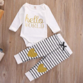 Baby Girl Clothes Newborn Set Hello World Outfit Long Sleeve Romper Golden Top Kids Striped Long Pants Infant Sets Girls Suit
