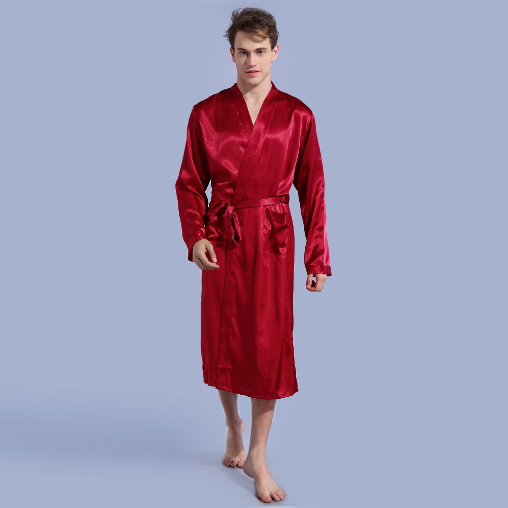 47b0be7d6 Burgundy Men's Kimono Robe Bathrobe Sleepwear Faux Silk Bath Gown Nightgown  Casual Pyjamas Hombre Pijama Size S M L XL XXL 035