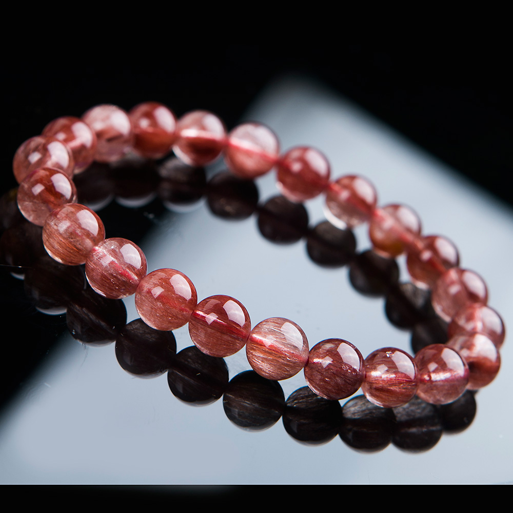Newly Natural Red Hair Rutilated Quartz Round Beads 8 5mm Crystal Bracelet Women Men Clear Stone AAAAA Gift Bracelet Jewelry in Bracelets Bangles from Jewelry Accessories