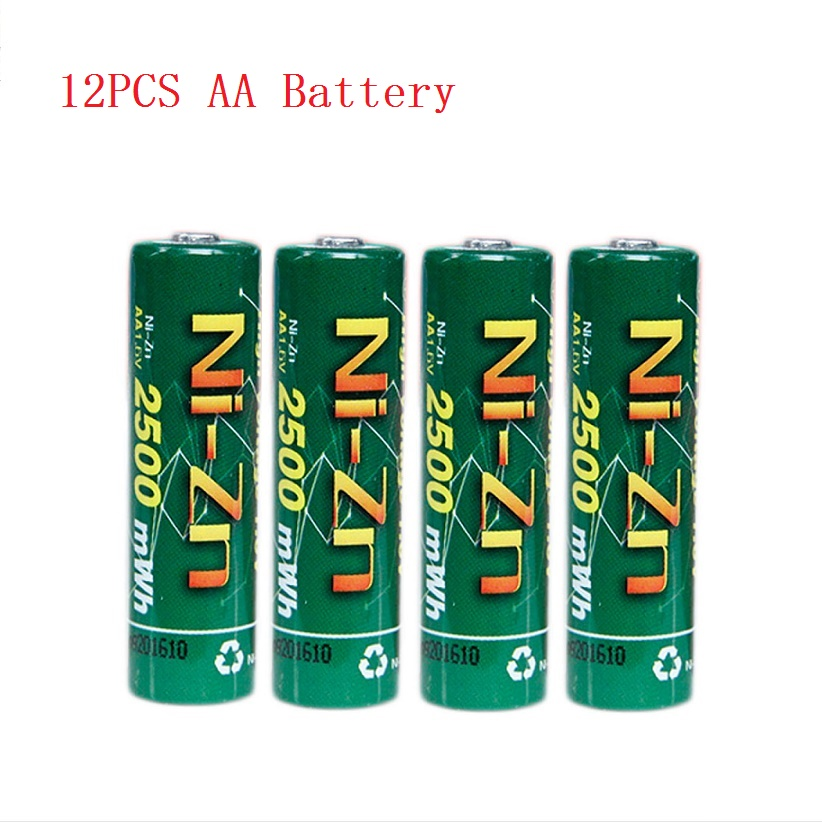 New quality 12Pcs NiZn Ni-Zn 1.6V AA 2500mWh Rechargeable Battery