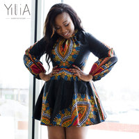 Yilia Women Dress Summer 2018 Black African Print Long Sleeve Back Bow Asual Sexy A Line