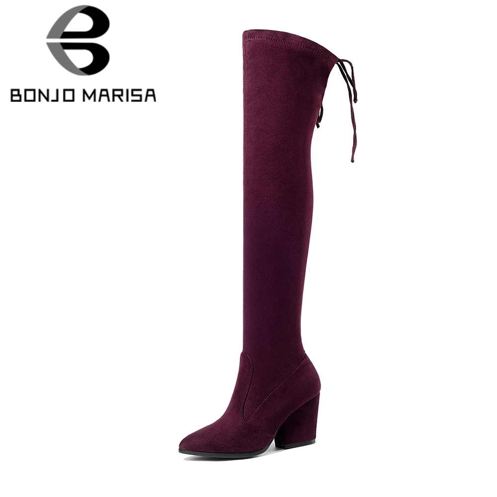 BONJOMARISA 2018 Brand Stretch Fabric Over The Knee Boots Womens Shoes Big Size 34-43 Casual Slip On Party Riding Boots Woman