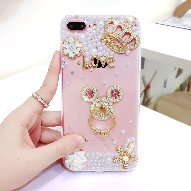 Silicone Ring With Diamond >> Luxury Pearls Diamond Soft Silicone Case for IPhone7 IPhone 6 6S 7 8 Plus TPU Phone Back Finger ...