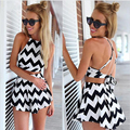 LANBAOSI Sexy Crop Top+Skirt Short 2 pcs Women Striped Sets Strap Backless Push Up Tops with Shorts Skirts Pant Summer Set