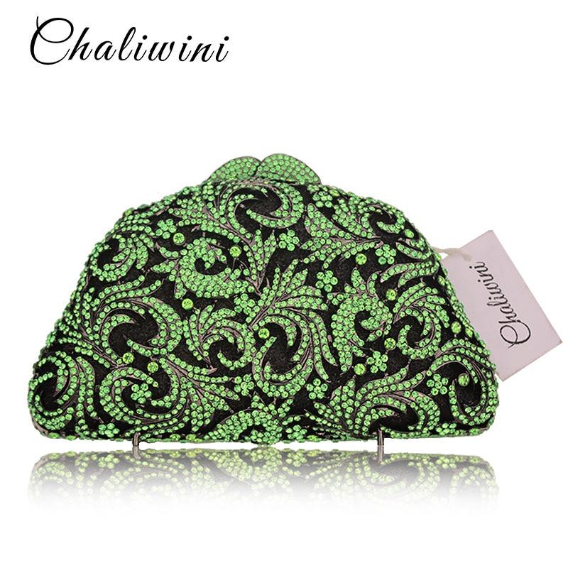 Green Hollow Out Crystal Floral Evening Bag Wedding Party Handbags Purse Lady Diamond rfid wallet wedding bag Rhinestone Clutche