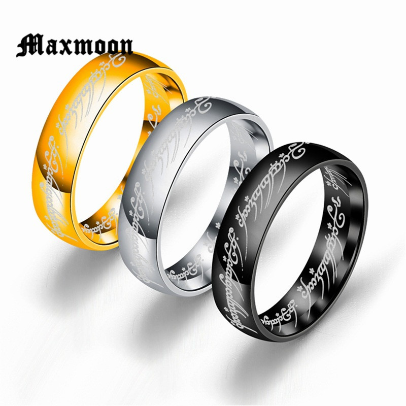 Maxmoon 2018 New Stainless Steel One Ring of Power the Lord of One Ring Lovers Women Men Fashion Jewelry Wholesale Free Shipping