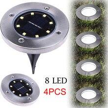 4 шт., 8LED светильник на солнечной энергии, подземный светильник, наружный светильник, садовый настил