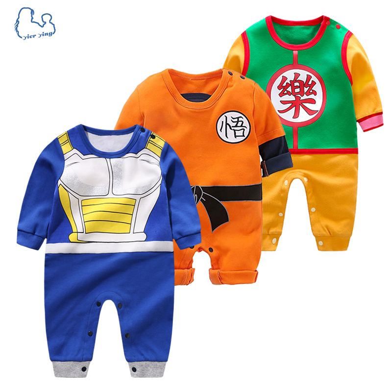 YiErYing High Quality Baby Clothing Baby Cartoon rompers Dragon Ball Style Long Sleeve Baby Jumpsuits Baby Boy Girl Clothes(China)