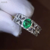 Natural green emerald gem Ring Natural gemstone Ring S925 silver Luxurious Thick Clover Hollowing women's party gift Jewelry
