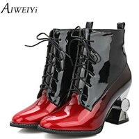 AIWEIYi Kobiet Plus size 34-44 Kostki Buty Pięty Dziwne Koronki up Platformy Buty Złoto Srebro Jesień Zima Futro Czarny Staw Skokowy botki