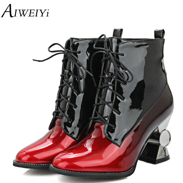 f2e2ef07042 AIWEIYi Womens Plus size 34-44 Ankle Boots Strange Heel Lace up Platform  Shoes Gold Silver Autumn Winter Fur Black Ankle Booties