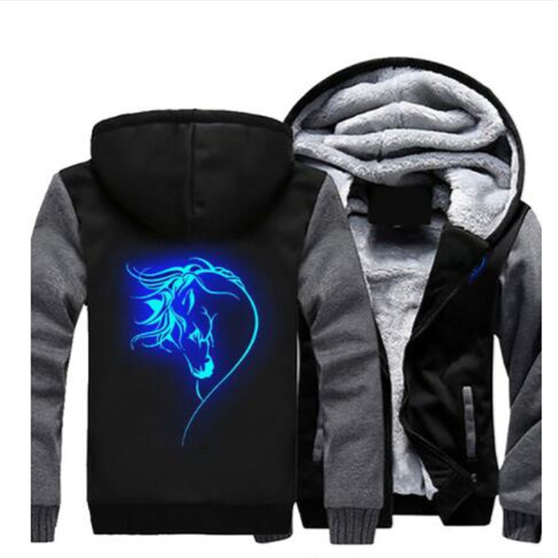Animal Horse Face Glowing Hoodies Zipper Jacket Horse Funny Luminous Winter Fleece Thicken Sweatshirt Hooded Coat Dropshipping