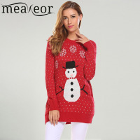 Meaneor Women Christmas Sweaters Casual O Neck Long Sleeve Snowman Printed Warm Christmas Dotted Sweater 2017