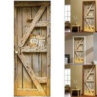 Self Adhesive Garden House KEEP OUT Warning 3D Door Sticker Home Decorative Waterproof Door Wall Stickers