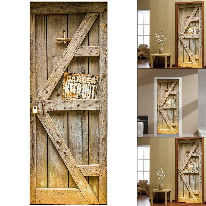 2 Pcs 3D Creative Stickers Door Wall Sticker DIY Mural Bedroom Home Decor Poster PVC Waterproof Door Sticker Imitation