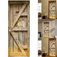 2 Pcs/Set 3D Creative Stickers Door Wall Sticker DIY Mural Bedroom Home Decor Poster PVC Waterproof Door Sticker Imitation