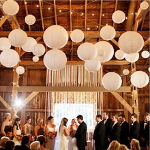 200pcs 16inch(40cm) Chinese Round White Paper Lanterns lamps for Wedding Party Home Decoration