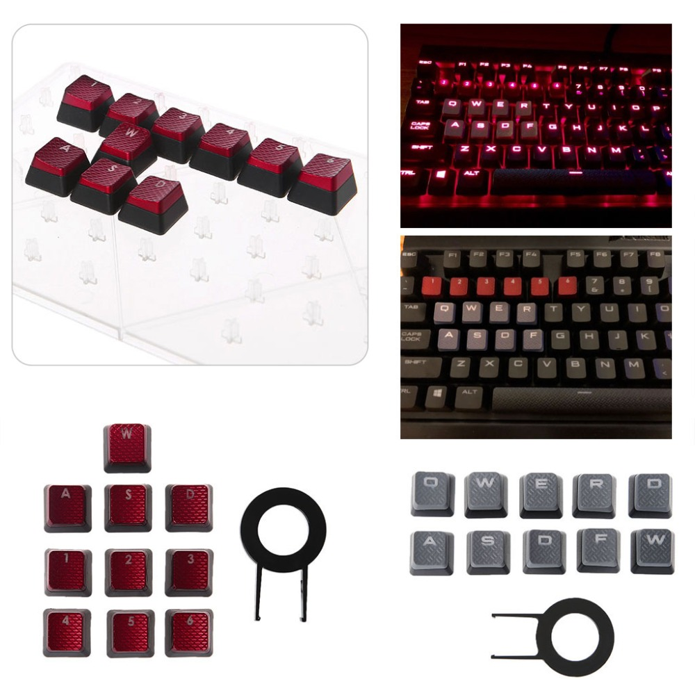 TCAM 10Pcs/Pack Keycaps for Corsair K70 K65 K95 G710 RGB STRAFE Mechanical Keyboard