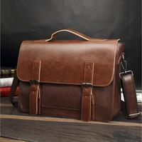 Vintage Crazy Horse Pu Leather Shoulder Bag Korean Men's Casual Crossbody Bag Computer Laptop Briefcase Office Bags