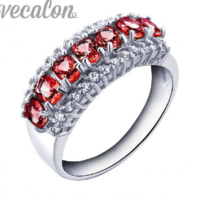 Vecalon Luxury Jewelry Imitation Red Aaaaa Zircon Cz Wedding Band Ring For Women White Gold Filled